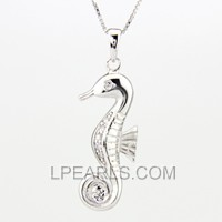 wholesale Seahorse 925 silver pearl pendant accessories