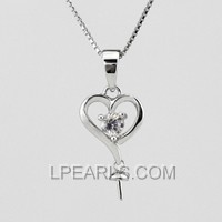 5pcs heart shape 925 sterling silver pendant accessory