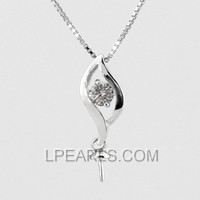 wholesale Leaf 925 silver pearl pendant accessories