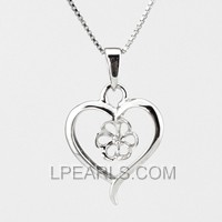 wholesale Heart Shape 925 silver pearl pendant accessories