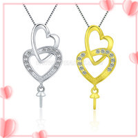 wholesale Double Heart 925 silver pearl pendant accessories