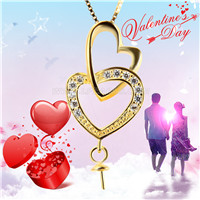 925 sterling silver gold plated Double Heart pearl pendant fitti