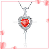 S925 sterling silver CZ red heart pearl pendant setting