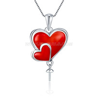 S925 sterling silver red heart pearl pendant setting for women