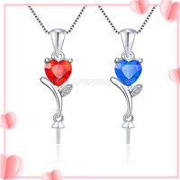 Romantic sterling silver Red Heart pearl pendant necklace mounti