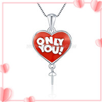 Romantic sterling silver Heart shape pearl pendant necklace moun