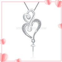 S925 sterling silver double hearts pearl pendant setting for wom