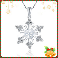 Romantic 925 sterling silver snowflake pendant mounting
