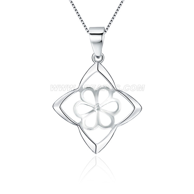 Wholesale 925 sterling silver square pendant mounting