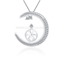 Romantic 925 sterling silver New Moon necklace pendant fitting