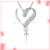 Fashion 925 sterling silver Zircon heart pearl pendant necklace