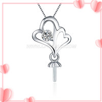 Beautiful 925 sterling silver Double heart pearl pendant necklac