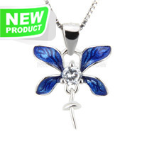925 sterling silver Blue Orchid pearl pendant necklace fitting