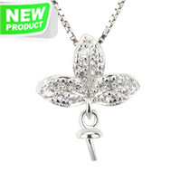 925 sterling silver Leaf pearl pendant necklace fitting