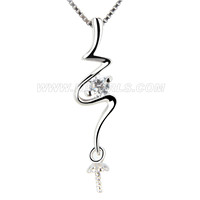 Newest 925 sterling silver Twisted pearl pendant necklace mounti