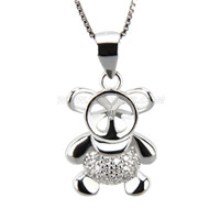 925 sterling silver Little bear pearl pendant necklace fitting