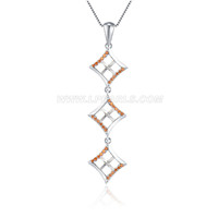 925 sterling silver red CZ pearl pendant necklace fitting