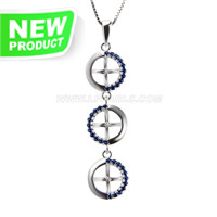 925 sterling silver Round shape pearl pendant necklace mounting
