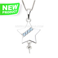 Fashion sterling silver Star pearl pendant necklace mounting