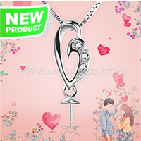 Fashion sterling silver Wing Heart pearl pendant necklace mounti