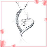 925 sterling silver zircon love heart pearl pendant fitting
