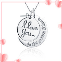 Moon and round sterling silver I love you pendant mounting