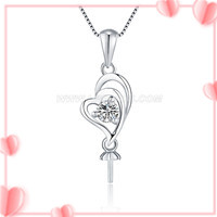 Charming 925 sterling silver love heart pendant setting