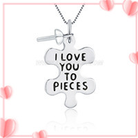I love you to pieces 925 sterling silver pendant mounting