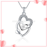 Romantic pure 925 sterling silver cross heart pendant fitting