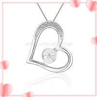 wholesale 925 sterling silver heart pendant mounting for women