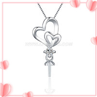 Romantic Love heart 925 sterling silver pendant mounting