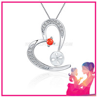 Romantic women Love heart 925 sterling silver pendant fitting