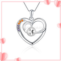 solid 925 sterling silver colorful zircon women pendant setting