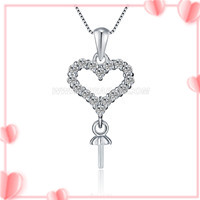 Romantic zircon heart 925 sterling silver women pendant mounting
