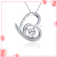925 sterling silver love heart pearl pendant setting for women