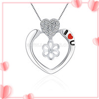 925 sterling silver CZ hearts pearl women pendant fitting