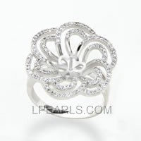 flower shape 925 sterling silver pearl ring accessory
