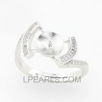 925 silver pearl ring mounting wholesale