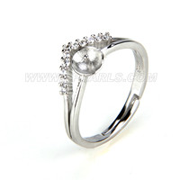 wholesale 925 sterling silver adjustable pearl rings accessory