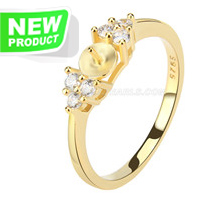 925 silver gold plated simple shape pearl rings fitting with zir
