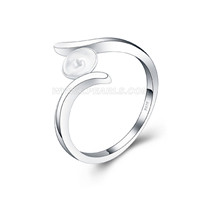Simple design wholesale 925 sterling silver pearl rings fitting