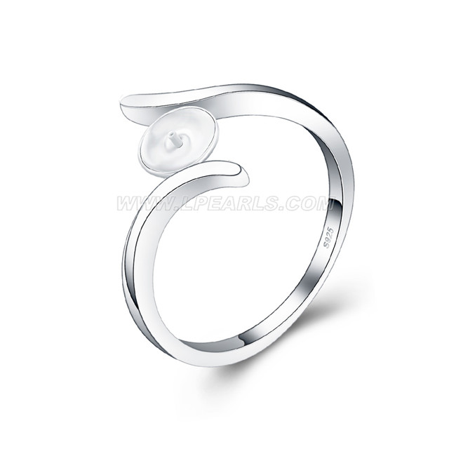 Simple Design Wholesale 925 Sterling Silver Pearl Rings Fitting Lp