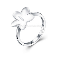 925 flower design wholesale pearl rings with zircons fitting