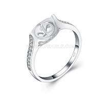 925 silver pearl rings fitting with zircons for women