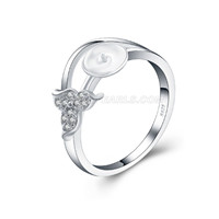 925 silver simple design pearl rings fitting with zircons