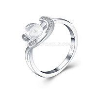 925 silver New moon pearl rings fitting with zircons