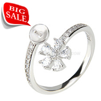 Big sale 925 silver Flower shape pearl rings fitting with zircon
