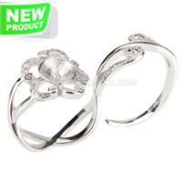 wholesale 925 sterling silver  flower adjustable pearl double ri