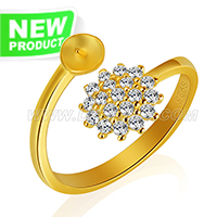 Fashion sterling silver gold plated flower adjustable rings acce