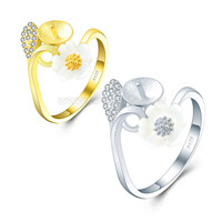 925 sterling silver adjustable daisy rings with zircons accessor